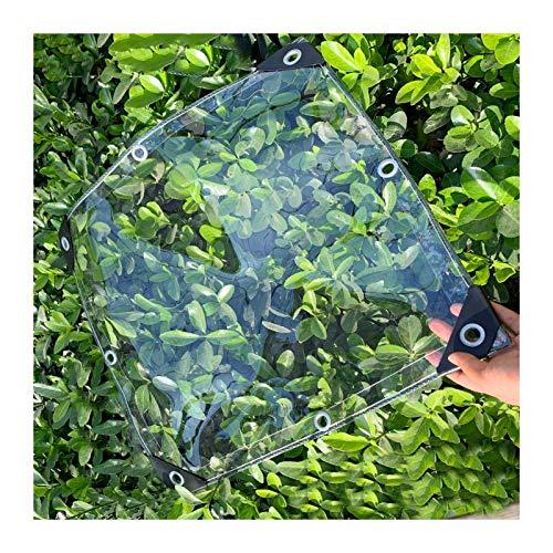 ALGFree Claro Cortina Lona Transparente Impermeable Exterior Espesar Impermeable Impermeable Lona Tarea Pesada Personalizable Suelo Cubierta de Hoja con Ojales, 0,5mm de Espesor