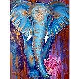Puzzle 1000 piezas Decoración animal pintura regalo elefante azul puzzle 1000 piezas Rompecabezas de juguete de descompresión intelectual educativo divertido juego familiar pa50x75cm(20x30inch)