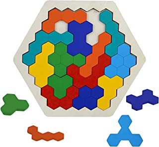 Wooden Puzzles Brain Teaser Toy for Kids Adults - Hexagon Shape Tangram Puzzle Montessori Educational Learning Toy IQ Game STEM Gift for All Ages