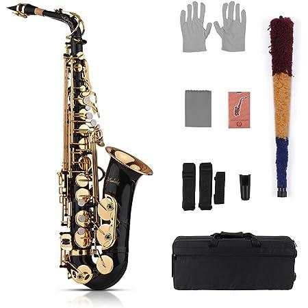 Muslady Eb Alto Saxofón Latón Oro 82Z Tipo de Instrumento de Viento de Madera con Estuche Acolchado Guantes Paño de Limpieza Cepillo Cintas de Saxofón Cañas