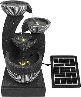 4-Tier Solar Water Fountain Garden Features Outdoor Indoor Bird Bath with LED Light Grey