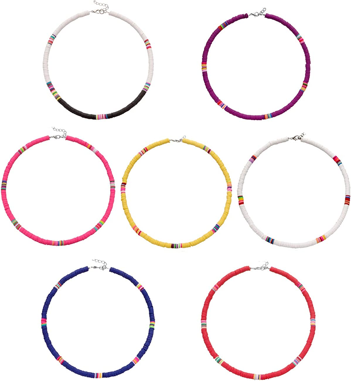 VALIJINA 4-7 Pieces Heishi Surfer Choker Necklace for Women Colorful African Vinyl Disc Bead Necklace Bohemian Bead Choker Summer Beach Jewelry for Holidays