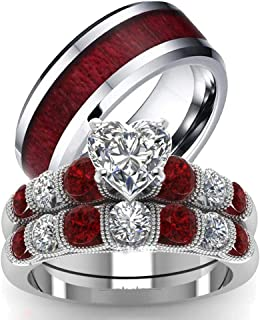 مجموعة هيز اند هيرز خاتمين للزفاف والخطوبة من الفضة الاسترلينية 925 من لوفر سينغ، خواتم خطوبة وزفاف للنساء والرجال