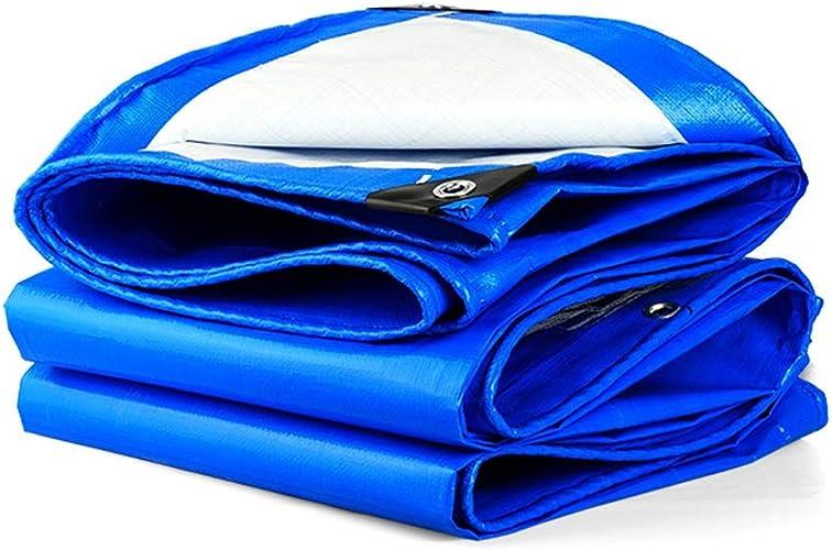 Qjifangfsh Bache, épaissir Multifonction Plusieurs Tailles, Prougeection Solaire étanche à la Pluie extérieure, Bleu + Blanc (Taille   5m7m)
