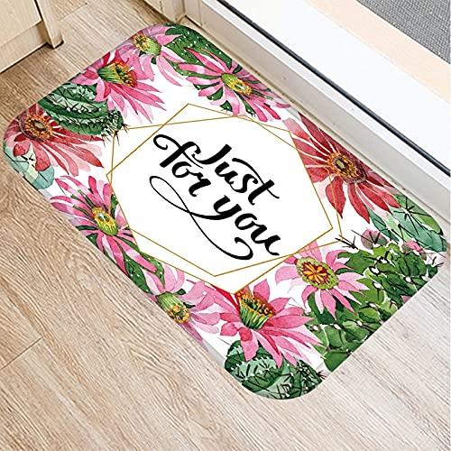 OPLJ Alfombra Colorida con patrón de Flores, Alfombra para Puerta de Entrada a la Cocina, Alfombra Antideslizante para Alfombrilla Interior A11 40x60cm