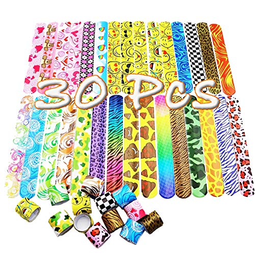 Slap Bands Fun Slap Wrist Bracelets with Colorful Hearts Animal Emoji Patterns for Girls Boys Kids Birthday Party Bag Fillers Gift School Goodie Bag Little Toys Favours (30 Pcs)