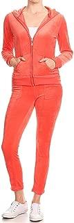 Womens Skinny Fit Casual Basic Velour Zip Up Hoodie Sweatsuit Tracksuit Set