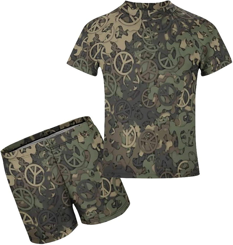 Yiaoflying Kids Boys 2 Piece Swimwear Set - Green Camo Peace Rashguard Swimsuit Trunks