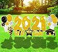 Geefuun 9PCSGraduationYardSignStakesDecorations2021-CongratsGradCapOutdoorLawnPartySuppliesDecor