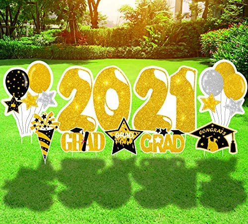 Geefuun 9 PCS Graduation Yard Sign Stakes Decorations 2021 Congrats Grad Cap Outdoor Lawn Party product image