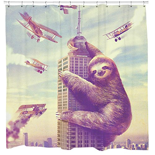 Sharp Shirter Sloth Shower Curtain Set Funny Bathroom Decor Nerdy Gift Slothzilla in New York 71x74 Hooks Included