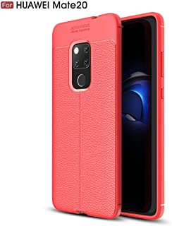 Huawei Mate 20 case, Silicone Leather[Slim Thin] Flexible TPU Protective Case Shock Absorption Carbon Fiber Cover for Huawei Mate 20 (Red)