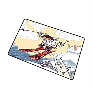 RelaxBear Kids Decor Front Door mat Carpet Cute Boy Skier Sliding Down and Jumping from The Snow Cliffs with Dog Graphic Machine Washable Door mat W19.7 x L31.5 Inch Multicolor