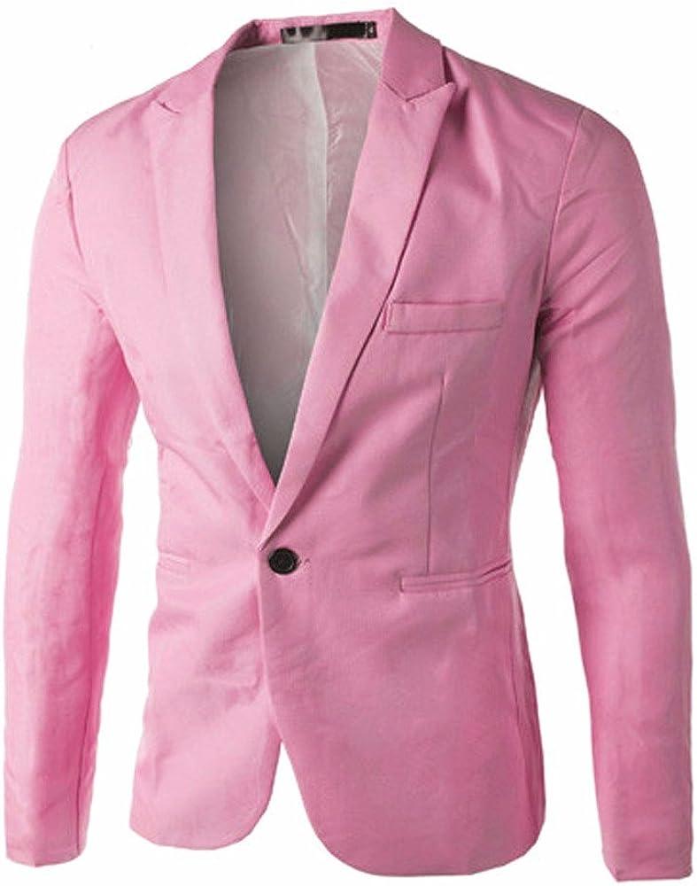 Charm Men's One Button Suit Blazer Coat Jacket Casual Slim Fit Tops Fashion Outwear