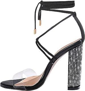 OLCHEE Women's Fashion Rhinestone Block High Heel Sandals - Clear Lace Up Ankle Strap Diamante Heels