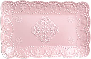 Jusalpha Fine China Rectangle Embossed Lace Plate-1 Piece (12 Inches, Pink)