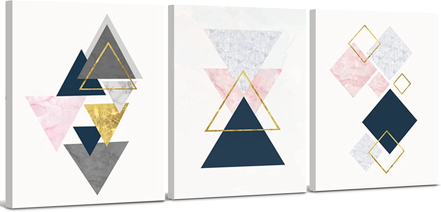 Pink discount Max 64% OFF Abstract Wall Art Decor - Framed Set Ge Decorative 3 Piece