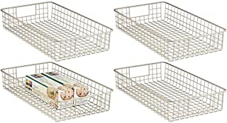 mDesign Household Metal Wire Cabinet Organizer Storage Organizer Bins Baskets trays - for Kitchen Pantry Pantry Fridge, Cl...
