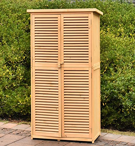 TITIMO 63' Outdoor Garden Storage Shed - Wooden Shutter Design Fir Wood Storage Organizers - Patios Tool Storage Cabinet Lockers for Tools, Lawn Care Equipment, Pool Supplies and Garden Accessories