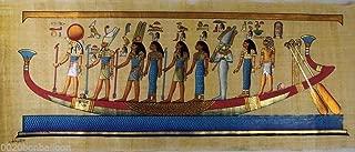 9 Pharaoh Gods Kings On Boat Original Hand Painted Papyrus Pharaoh Papyri 32