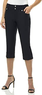 Rekucci Women's Ease in to Comfort Fit Modern Classic Cuffed Capri