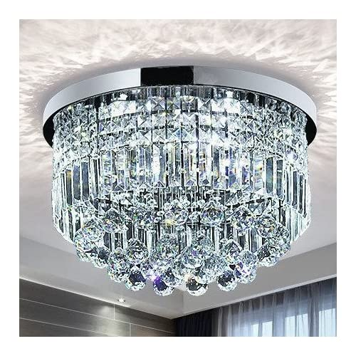 Saint Mossi Modern K9 Crystal Raindrop Chandelier Lighting Flush Mount LED Ceiling Light Fixture Pendant Lamp