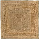 HAMID Alfombra Yute Alhambra Color Natural - Alfombra 100% Fibra de Yute (200x200cm)