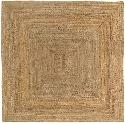 HAMID Tapis Jute naturel - Alhambra Tapis 100% fibre de jute (Naturel, 200x200cm)