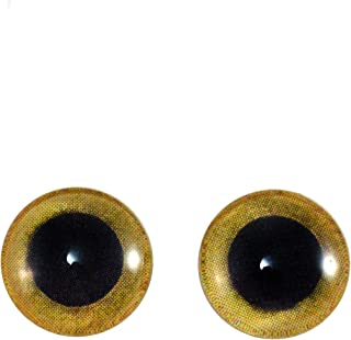 12mm Yellow Owl Glass Eyes Doll Irises for Art Polymer Clay Taxidermy Sculptures or Jewelry Making Set of 2