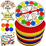 CozyBomB Carpet Sit Markers Spots for Classroom Kids - Paw Rug Student Teachers - Round Sitting Circle with 4-Inch 36-Pack Dots for Preschool, Kindergarten Twister Floor Musical Christmas Party Game