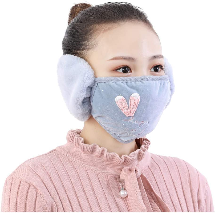 K&KP Winter Face_Masks Ear Warmer for Adults/Kids Fleece Cotton Earmuff Unisex Warm Mouth-Muffle,Cold Weather Coldproof Windproof Full Ears Protection Accessories Balaclava (Style B: Blue丨Adult)