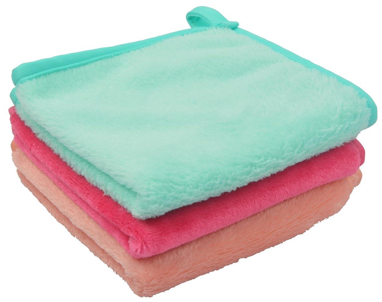 汚染するタッチわなSinland メイク落としタオル 柔らかい クレンジング タオル 敏感肌用タオル (30cmx30cm, ライトグリーン+ピンク+オレンジ)