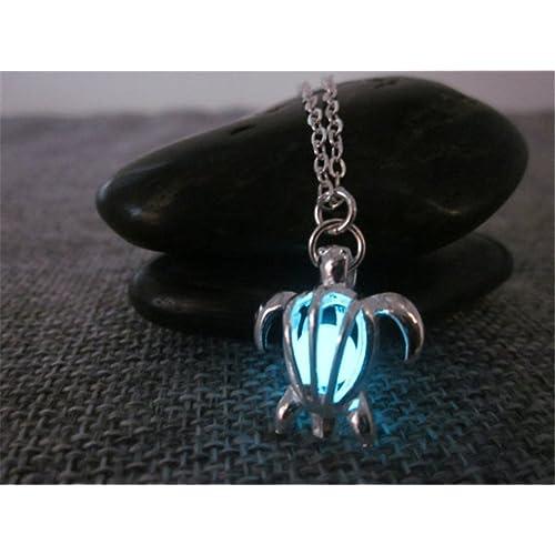 Glowing Halskette, Halskette versilbert Sea Turtle Halskette, Glow, Glow in the Dark Halskette, Glow in the Dark Schmuck, Glow Jewelry