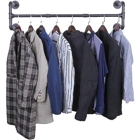 OROPY Portant à vêtement Industriel, Porte Manteaux Amovible 105cm, Tringle à Vêtement, Penderie Murale, Tuyau en Métal, Noir (Quatre Bases)