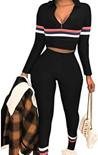 Women's Sweatsuits, 2 Pieces Sexy Sportwear Set for Women Short Sleeve Crop Tops+Color Stripe Skinny Pants Tracksuit Set