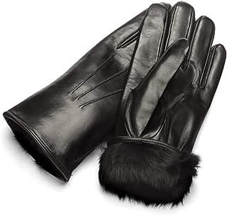 SAGEBROWN Men's Rabbit Fur Lined Gloves