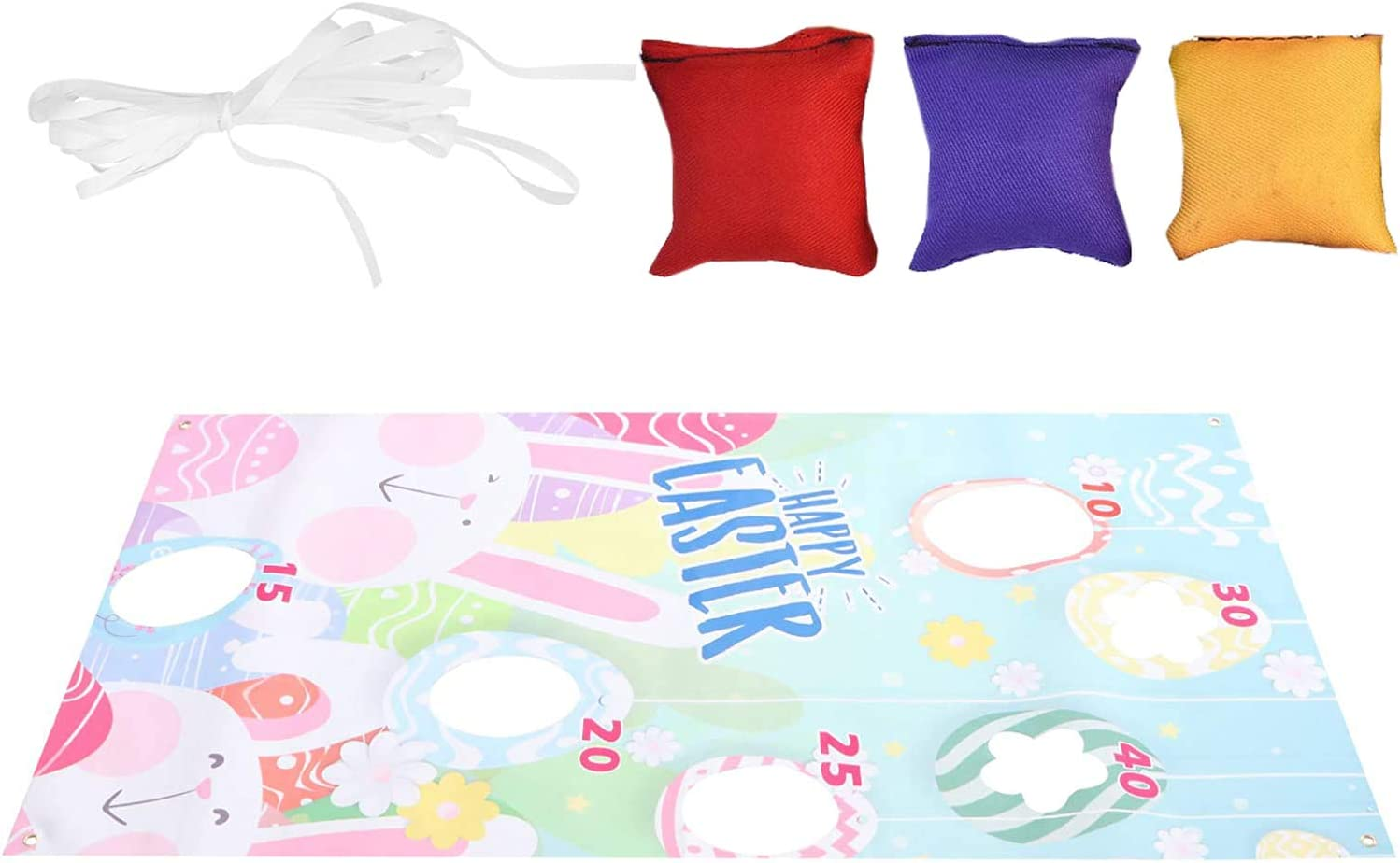 A KENG Easter Toss Game with 3 Bean Bags Throwing Game for Kids Adults Easter Bunny Backdrop Hanging Toss Games Fun Party Supplies Toys Birthday Easter Party Supplies and Easter Decorations