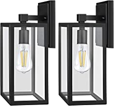 PARTPHONER Outdoor Light Fixtures Wall Mount, Porch Light with 2 LED Bulbs, Exterior Light Fixture Waterproof Anti-Rust Wa...
