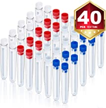HNYYZL 40Pcs Clear Plastic Test Tubes with Caps, HNYYZL 40Pcs Clear Plastic Test Tubes with Caps, 13x78mm, for Lab Use, Party o, for Lab Use, Party or House Decoration, Candy Storage(Blue, Red, White)