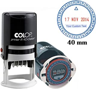 Self Inking COLOP R40 24 Hour Time & Date Stamp 40MM Round Business Stamp Custom Text Red Blue