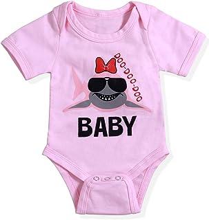 9de66613cd9 Newborn Baby Girls Boys Clothes Little Shark Print Short Sleeve Onesie Bodysuit  Romper Jumpsuit