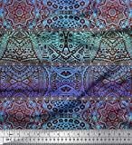 Soimoi Blau Baumwolle Batist Stoff Streifen & Mandala