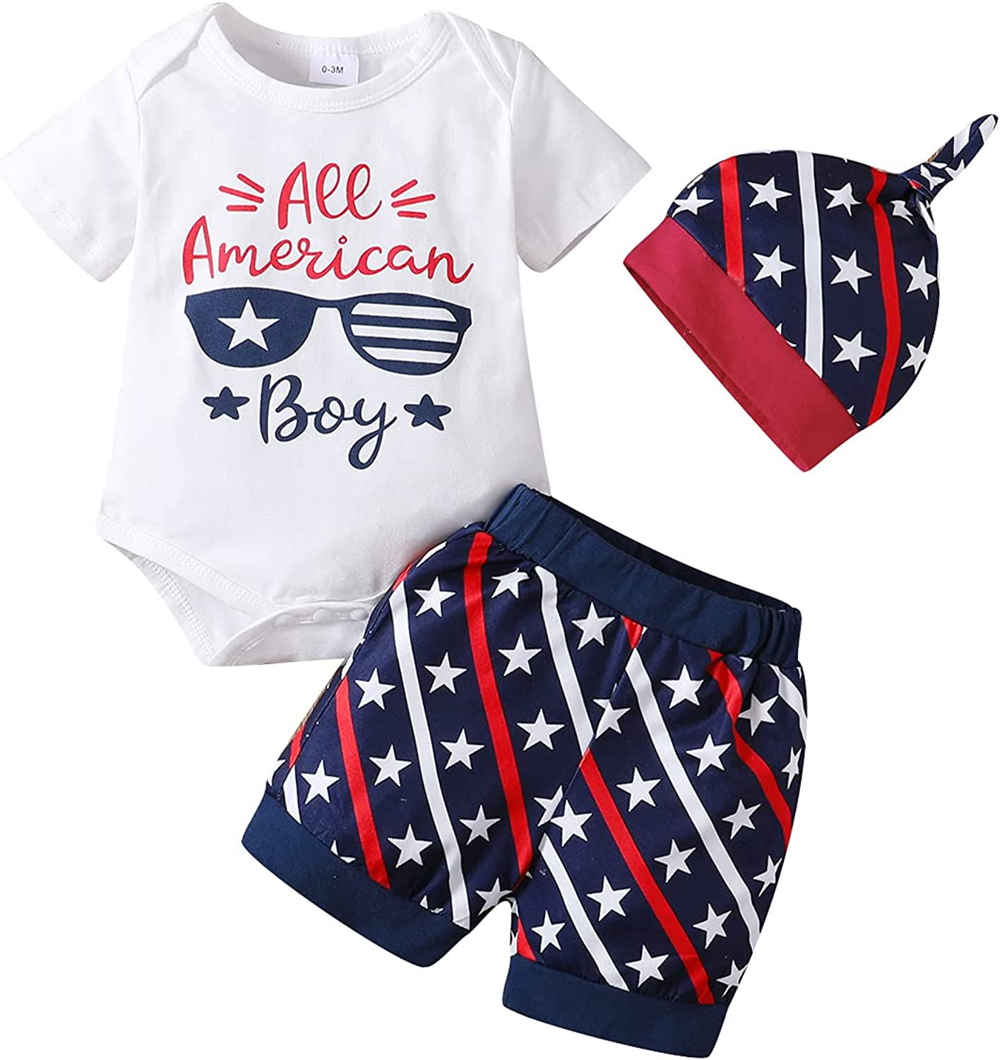 ZOEREA Baby Boy Independence Day Clothes 0-18M Romper + Short Pants + Hat Set