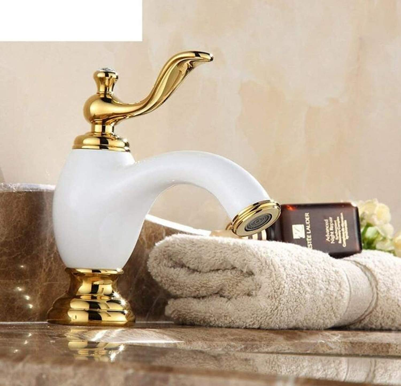 Retro Mixer Faucet Continental gold Faucet Copper Bathroom Basin Faucet Antique Basin Single Hole Hot and Cold