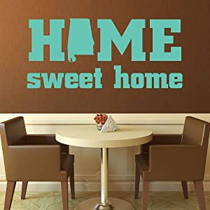 Tamengi Home Sweet Home State of Alabama Silhouette Vinyl Wall Art Decal for Living, Dining, Family Room or Entryway Decor 15.7