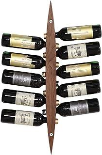 FFYN Organisation de Rangement de Cuisine Casiers à vin muraux Porte-Bouteille Barre en Bois Vintage - Étagères flottantes...
