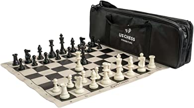 US Chess Federation Supreme Triple Weighted Chess Set Combo - Black