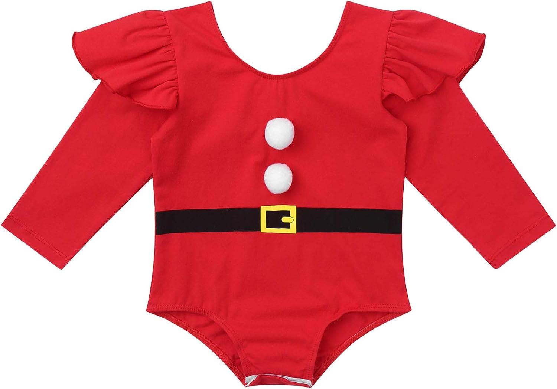 iiniim Peleles Navidad Beb/é Ni/ño Ni/ña Reci/én Nacido Mono Body Infantil Manga Largo Ropa Invierno Fiesta Conjunto Trajes de Santa Mameluco Algod/ón Christmas Romper