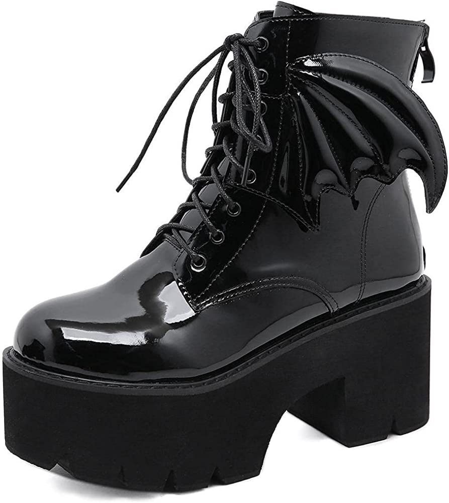 Mikarka Goth Ankle Boots for Women, Zipper Studded Chain Mid Chunky Heel Platform Combat Ankle Booties Motorcycle Riding Mid Calf Boots