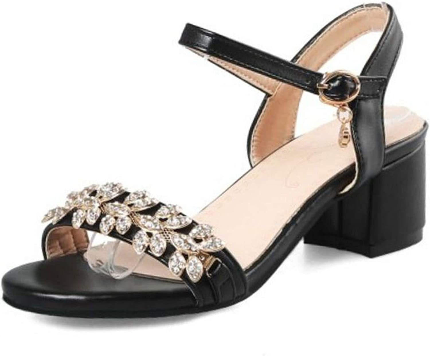 Fairly Buckle Strap Crystal Thick Heel Fashion Summer shoes for Party Wedding shoes,Black,12.5